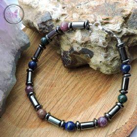 Men's Hematite, Lapis Lazuli, Bloodstone & Lepidolite Bracelet